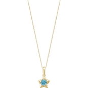 Karat Kids 14K Gold Imitation Aquamarine Youth Star Pendant