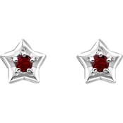 Karat Kids 14K Gold Imitation Garnet January Star Youth Earrings