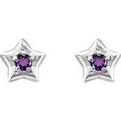 Karat Kids 14K Gold Imitation Amethyst February Star Youth Earrings