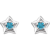Karat Kids 14K Gold Imitation Aquamarine March Star Youth Earrings