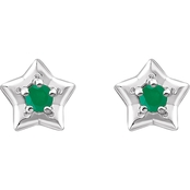 Karat Kids 14K Gold Imitation Emerald May Star Youth Earrings