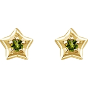 Karat Kids 14K Gold Imitation Peridot August Star Youth Earrings