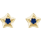 Karat Kids 14K Gold Imitation Sapphire September Star Youth Earrings