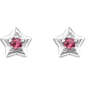 Karat Kids 14K Gold Imitation Pink Tourmaline October Star Youth Earrings
