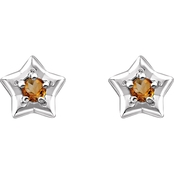 Karat Kids 14K Gold Imitation Topaz November Star Youth Earrings