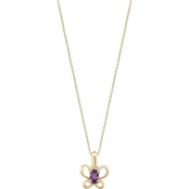 Karat Kids 14K Gold Oval Imitation February Butterfly Youth Necklace