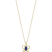 Karat Kids 14K Gold Oval Imitation September Butterfly Youth Necklace