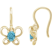 Karat Kids 14K Gold Oval Imitation Aquamarine March Butterfly Youth Dangle Earrings