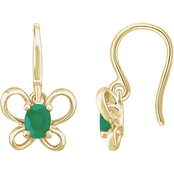 Karat Kids 14K Gold Oval Imitation Emerald May Butterfly Youth Dangle Earrings