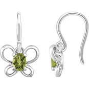 Karat Kids 14K Gold Oval Imitation Peridot August Butterfly Youth Dangle Earrings