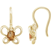 Karat Kids 14K Gold Oval Imitation Topaz November Butterfly Youth Dangle Earrings