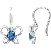 Karat Kids 14K Gold Imitation Blue Zircon December Butterfly Youth Dangle Earrings