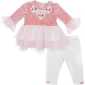 Little Lass Infant Girls 2 pc. Lace Velvet Pant Set