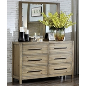 Furniture of America Garland 6 Drawer Dresser and Mirror
