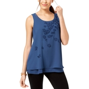 Alfani Tiered Hem Applique Top