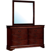 Furniture of America Louis Phillipe 6 Drawer Dresser and Mirror
