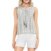Vince Camuto Lace Up Jacquard Stripe Blouse