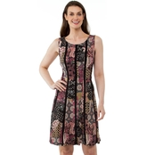 Connected Print Interlock Twist Yarn Fit and Flare Dress
