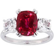 Sofia B. 10K White Gold Created Ruby and Created White Sapphire Three-Stone Ring
