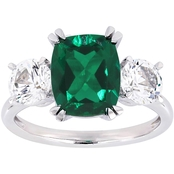 Sofia B. 10K White Gold Created Emerald and Created White Sapphire Three-Stone Ring