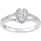Diamore 14K White Gold 3/4 CTW Oval Diamond Halo Engagement Ring