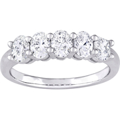Diamore 14K White Gold 1 CTW Oval Diamond Semi-Eternity Ring