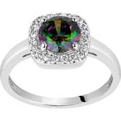 Rhodium Over Sterling Silver Round Mystic Topaz and White Topaz Halo Ring