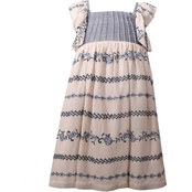 Bonnie Jean Toddler Girls Chambray Bodice with Embroidered Lawn Float Dress