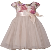 Bonnie Jean Toddler Girls Printed Lace Bodice to Mesh Ballerina Dress