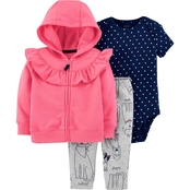 Carter's Infant Girls Ruffle Dog 3 pc. Cardigan Set