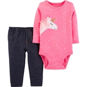 Carter's Infant Girls Unicorn Bodysuit 2 pc. Pants Set