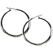 Guess Logo Silver Metal Hoop Earrings