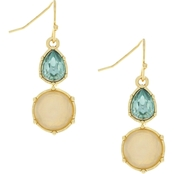 932c0717ddbe1 Jessica Simpson Goldtone with White Opal and Tourmaline Double Stone Drop  Earrings