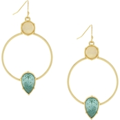 c8c94984b2ef7 Jessica Simpson Goldtone with White Opal and Tourmaline Frontal Hoop  Earrings