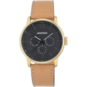 Armitron Men's Multifunction Dial Tan Leather Strap Watch 20/5217BKGPTN