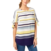Charter Club Striped Tie Sleeve Top