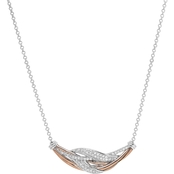 Sterling Silver and 10K Rose Gold 1/4 CTW Diamond Necklace