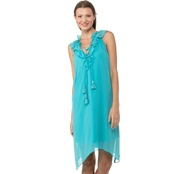 Kensie Jeans Chiffon Ruffle V Neck Dress