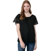 Kensie Jeans Crochet Embroidered Cotton Top