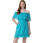 Kensie Jeans Crochet Embroidered Cotton Dress