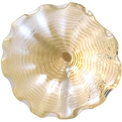 Dale Tiffany Beige Feather 16 in. Hand Blown Glass Plate