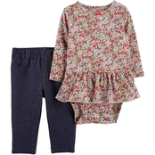 Carter's Infant Girls 2 pc. Floral Peplum Bodysuit and Denim Pants Set