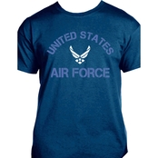 Distressed Printed United States Air Force, Air Force Symbol Navy Blue T Shirt