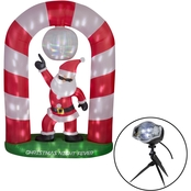 Gemmy Animated Projection Airblown Mixed Media Disco Santa Scene