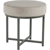 Kinfine Round Ottoman with Metal Base