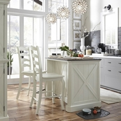 Home Styles Seaside Lodge Kitchen Island and 2 Stools