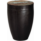 Scott Living Side Table with Black Iron Drum Base