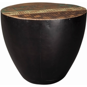 Scott Living End Table with Black Iron Drum Base
