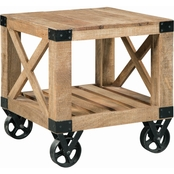 Scott Living End Table with Black Industrial Wheels