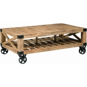 Scott Living Coffee Table with Black Industrial Wheels